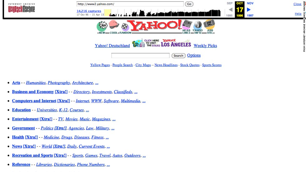 "A white background with bright blue links helped <a href=""http://yahoo.com"" target=""_blank"">yahoo.com</a> users find what they were looking for in October 1996."
