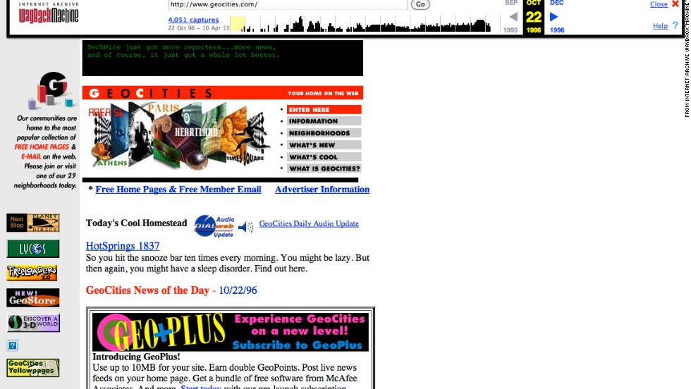 "For those looking to find a sense of community online, the <a href=""http://geocities.yahoo.com/index.php"" target=""_blank"">geocities.com</a> of October 1996 presented a colorful option."