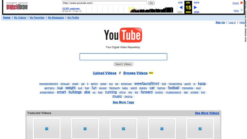 """Your digital video repository"" could have been at <a href=""http://www.youtube.com"" target=""_blank"">Youtube.com</a> in July 2005."