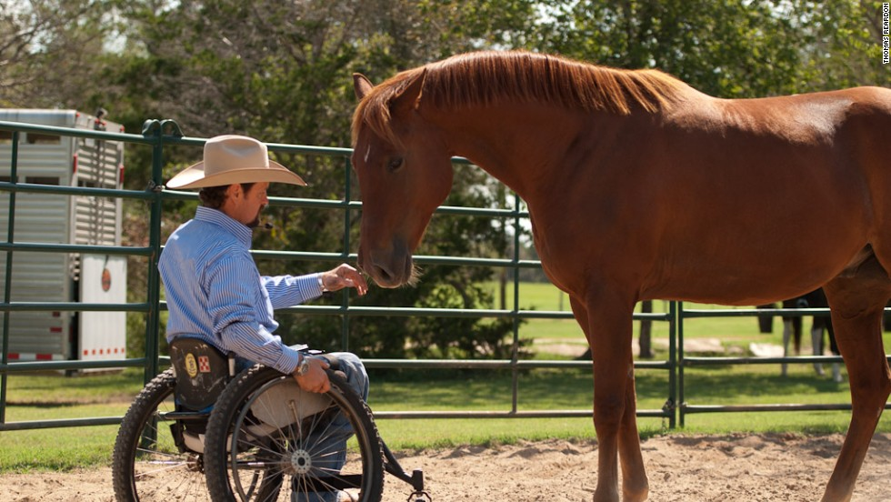Horsemanship teacher Michael Richardson demonstrates the sensitivity and responsiveness of Santo, a former track horse at LOPE.