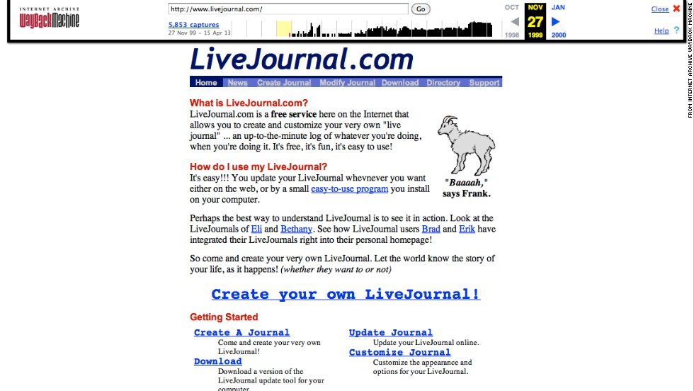 """Baaaah,"" said goat mascot Frank of <a href=""http://livejournal.com"" target=""_blank"">livejournal.com</a>. This screenshot shows the social blogging site as it appeared in November 1999."