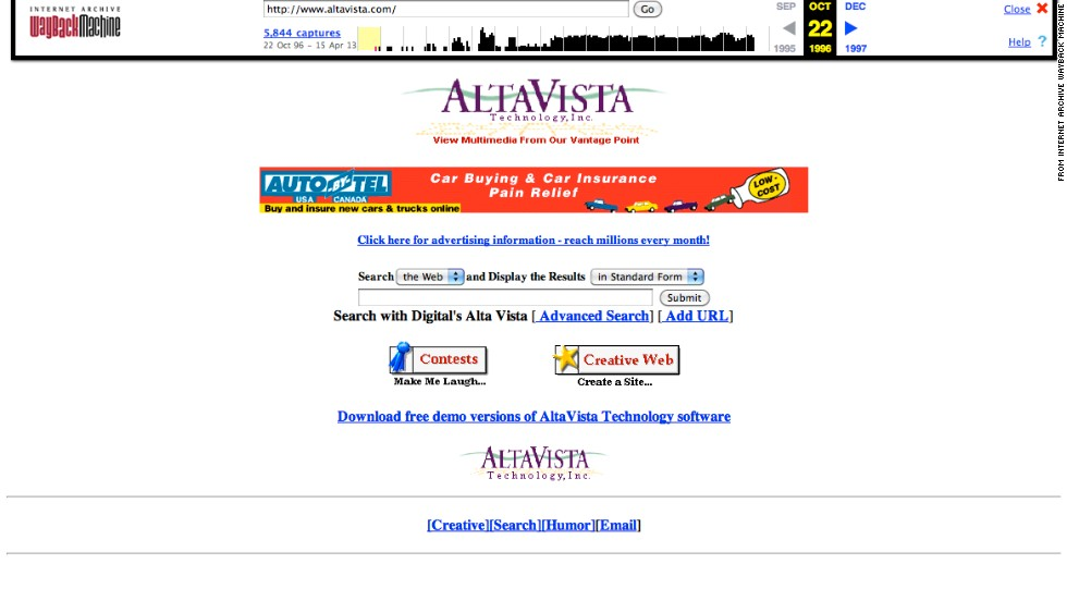 "The <a href=""http://altavista.com"" target=""_blank"">altavista.com</a> site is now an iconic darling of Internet history. The October 1996 version of the site boasted a search field, a banner ad and some fun extras."