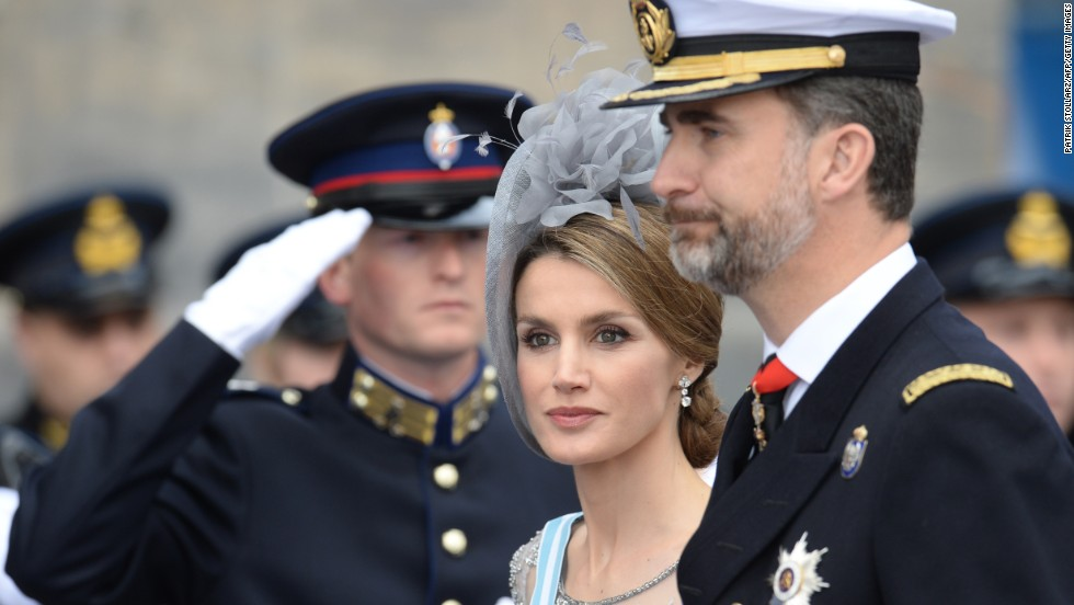 Spain's Crown Prince Felipe and his wife Crown Princess Letizia arrive at a reception hosted by King Willem-Alexander at the Royal Palace in Amsterdam following the investiture.