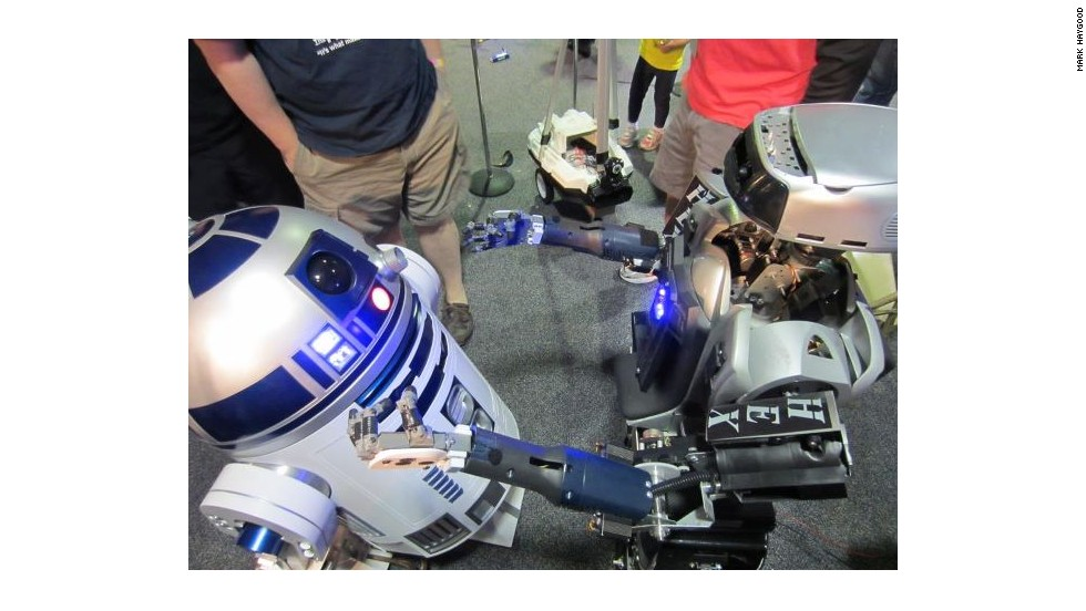 "HEX meets ""R2-D2"" at a recent Robofest event. Haygood hopes to inspire kids in Baltimore to build robots."