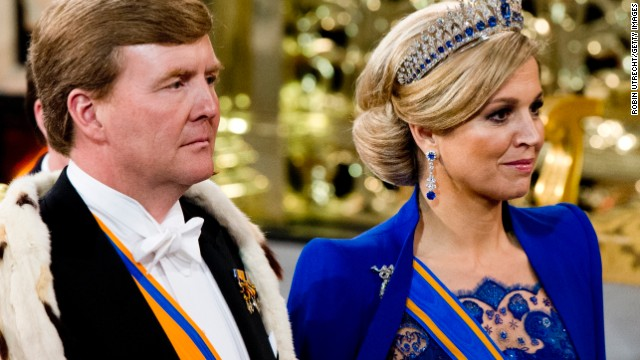 HM King Willem Alexander of the Netherlands and HM Queen Maxima of the Netherlands exit after the inauguration ceremony at New Church on April 30, 2013 in Amsterdam, Netherlands