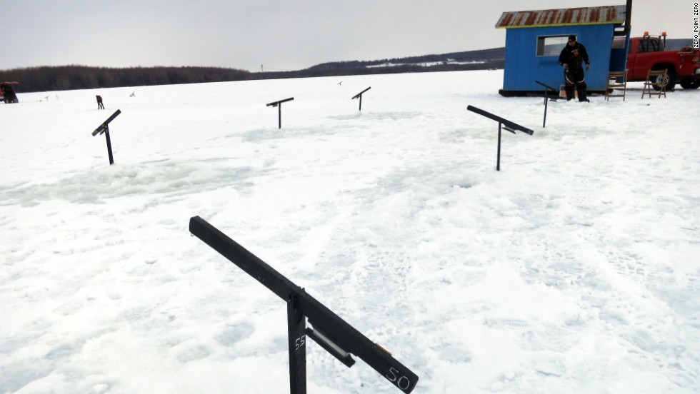 More ice fishing on the St. Lawrence River.