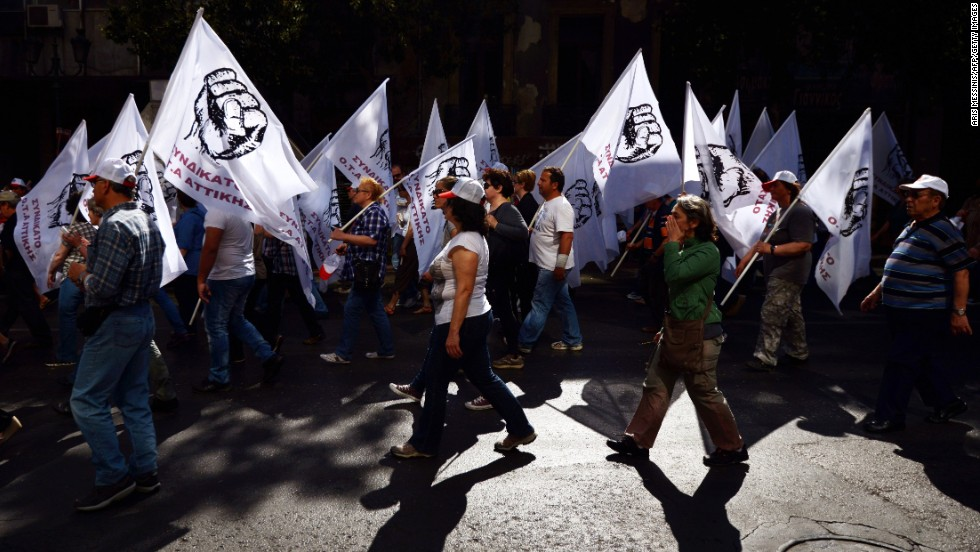 People march in a May Day demonstration Athens.