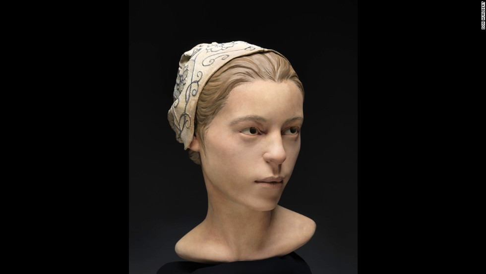 Experts recovered bone fragments they identified as being from  a 14-year-old girl. They were able to reconstruct her facial features, as shown here.