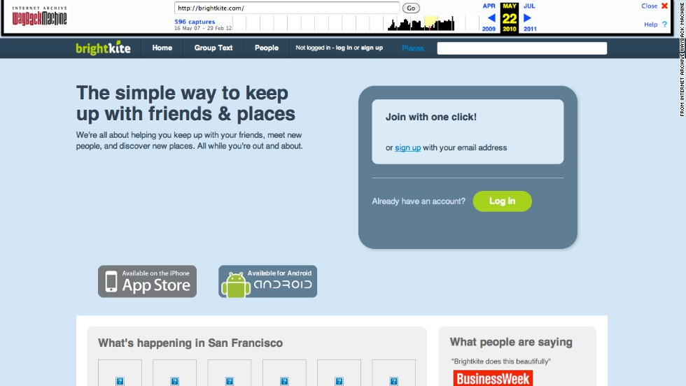 Brightkite, another location-oriented social site, is shown here as it looked in May 2010. It was founded in 2007 and closed in December 2011.