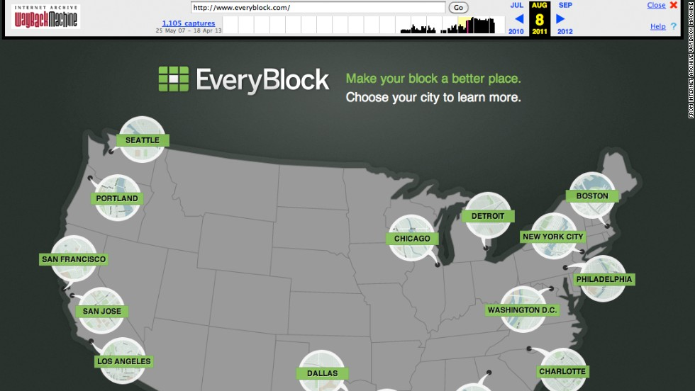 "<a href=""http://everyblock.com/"" target=""_blank"">EveryBlock</a>, shown in August 2011, was a hyperlocal portal for information on neighborhoods and city blocks. It was available in several cities. Launched in 2008 in Chicago by Adrian Holovaty, EveryBlock started as an exciting experiment with a two-year $1.1 million grant from the Knight Foundation. The company was acquired by MSNBC.com a year later, and in 2012 NBC News bought MSNBC.com. <a href=""http://www.cnn.com/2013/02/07/tech/innovation/everyblock-closed"">The site closed</a> on February 7, 2013."
