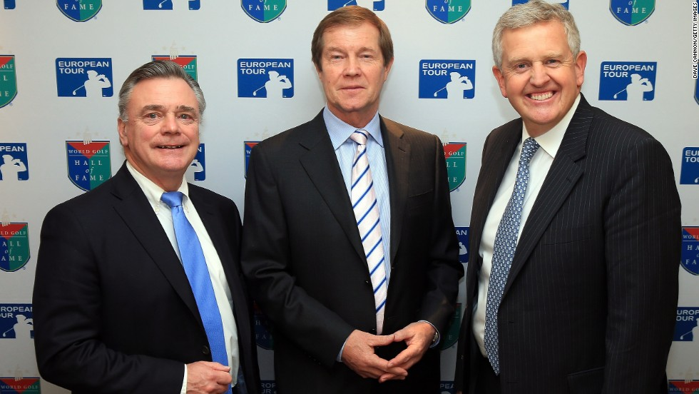 Former European Tour chief Ken Schofield (left) has also been inducted to the Hall of Fame for his services to golf. He shares the moment with his successor George O'Grady and Montgomerie