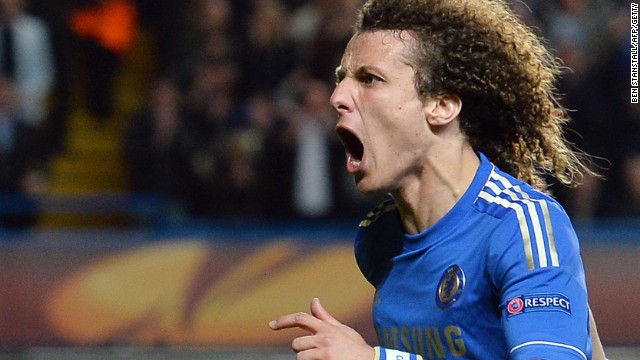 David Luiz shows his delight at scoring a superb third in Chelsea's 3-1 second leg win over Basel in London.