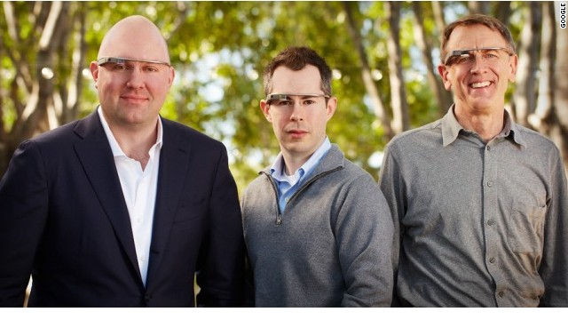 Tech investors Marc Andreesen, Bill Maris and John Doerr model Google Glass in this image provided by the company.