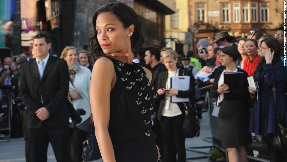 "Zoe Saldana looks at the crowd gathered at the U.K. premiere of ""Star Trek Into Darkness."""