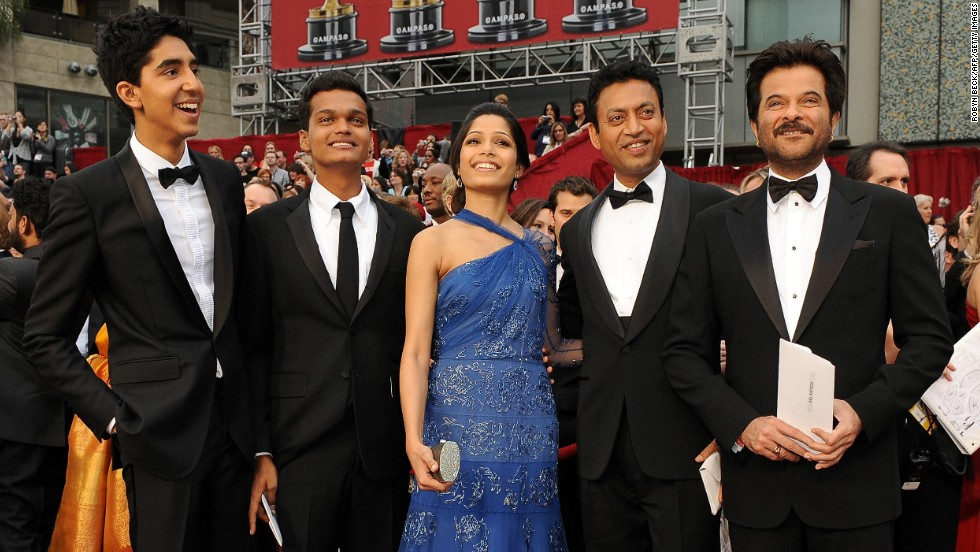 "The cast of ""Slumdog Millionaire"" arrives at the 81st Academy Awards in Hollywood, California, on February 22, 2009. From left, Dev Patel, Madhur Mittal, Freida Pinto, Irrfan Khan and Anil Kapoor. The British film featured Bollywood actors and went on to win eight Oscars, including best picture."
