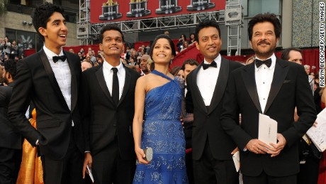 """The """"Slumdog Millionaire"""" cast -- from left, Dev Patel, Madhur Mittal, Freida Pinto, Irrfan Khan and Anil Kapoor -- at the 2009 Academy Awards. The film won Best Picture."""