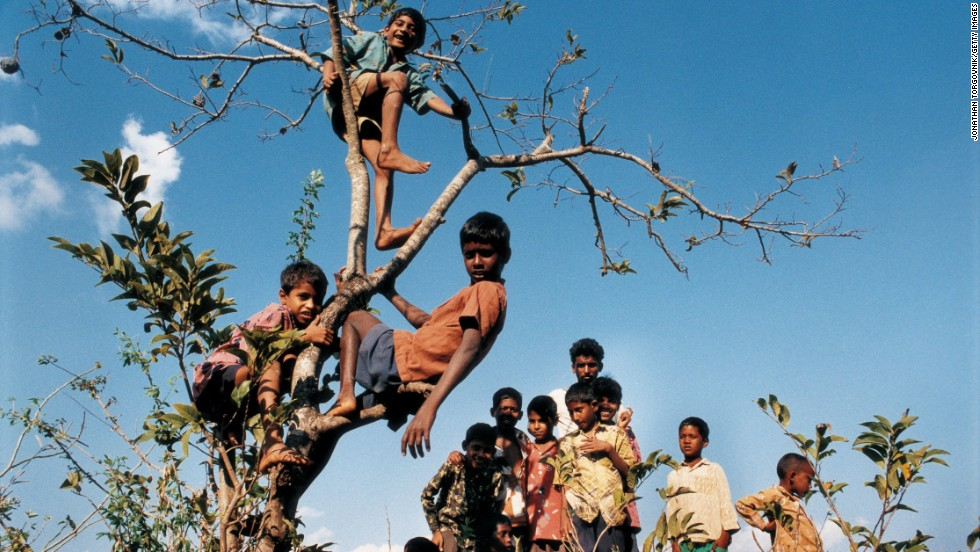 "Children from nearby villages gather to watch the filming of ""Mere Swapneke Rani"" in Rajahmundry, India, in 1997. They climb trees to get the best possible view of the film stars."