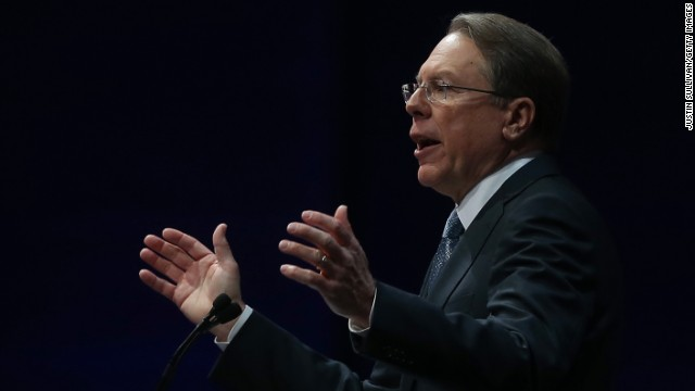 HOUSTON, TX - MAY 03: NRA executive vice president Wayne LaPierre speaks during the 2013 NRA Annual Meeting and Exhibits at the George R. Brown Convention Center on May 3, 2013 in Houston, Texas. More than 70,000 peope are expected to attend the NRA's 3-day annual meeting that features nearly 550 exhibitors, gun trade show and a political rally. The Show runs from May 3-5. (Photo by Justin Sullivan/Getty Images)