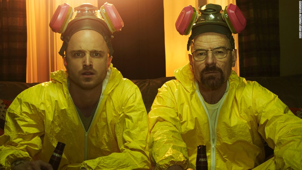 """Breaking Bad"" may be history, but stars Bryan Cranston, right, and Aaron Paul are still keeping the show in the spotlight. The two <a href=""http://www.hollywoodreporter.com/live-feed/julia-louis-dreyfus-hocks-emmy-726274"" target=""_blank"">starred in a promotional video for the Emmys</a> with Julia Louis-Dreyfus (""Veep"") that included a clever reference to their meth-cooking characters -- as well as some digs at the awards. The AMC show is up for <a href=""http://www.cnn.com/2014/07/10/showbiz/emmy-nominations-2014-complete-list/index.html"">a vat-load of Emmys</a>, including nominations for Cranston, Paul and best drama. Here are some indelible scenes from its five seasons (SPOILER ALERT: Read no further if you don't want plot points revealed)."