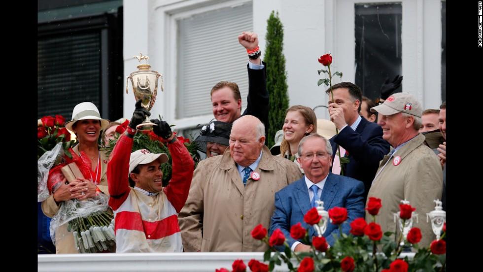 Jockey Joel Rosario celebrates Orb's victory.