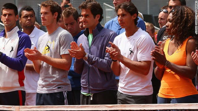 (From left) Novak Djokovic, Andy Murray, Roger Federer, Rafael Nadal and Serena Williams pay tribute to the late Brad Drewett.