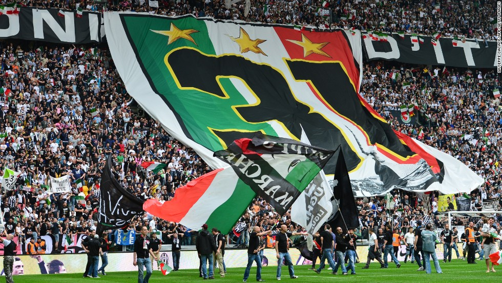 Juventus supporters celebrate after Sunday's 1-0 win over Palermo gave their team a 29th Italian Serie A title.
