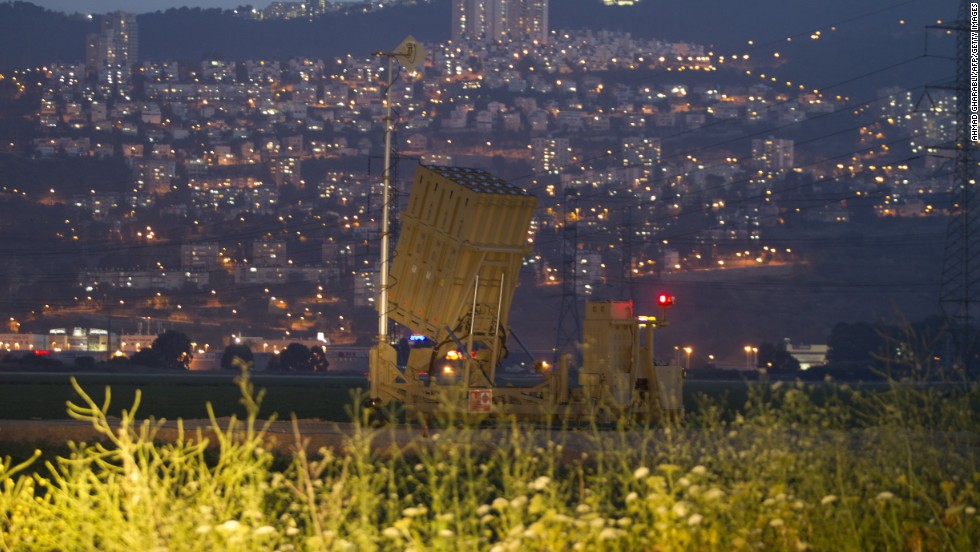 An Iron Dome air defense system is visible near the northern Israeli city of Haifa on May 5.