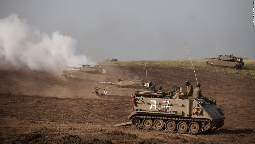 Israeli tanks participate in a drill near the Syrian border on May 6.