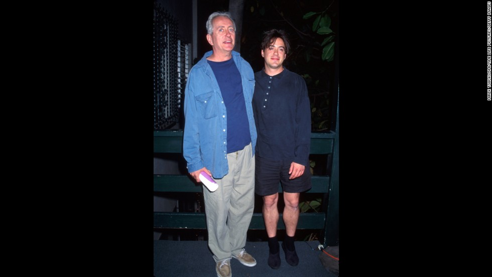 Downey with his father, director Robert Downey, in 1995. The younger Downey reportedly had his first experience with drugs at age 6, when his father gave him a toke of marijuana (years later, the elder Downey would confess to regretting that decision).
