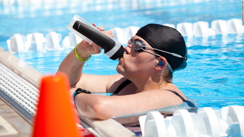 Hydration is key for the Fit Nation athletes. They carry water on them at all times, even while swimming.