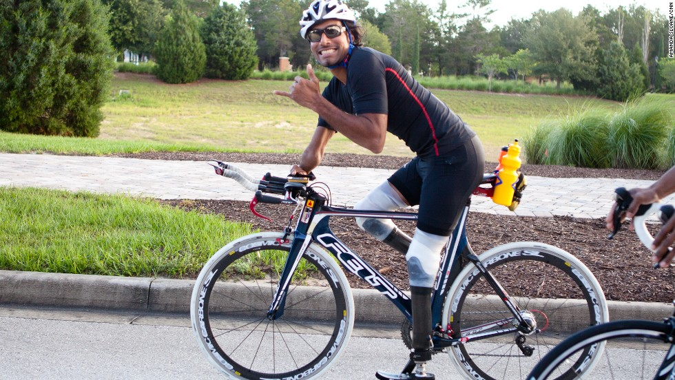 Rajesh Durbal joins the Fit Nation team on its ride. Durbal was the first triple amputee to compete in the Ironman World Championship.