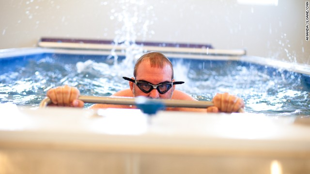 Stacy Mantooth gets his swim kick analyzed at the National Training Center in Clermont, Florida.