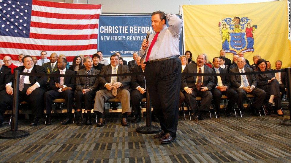 Christie speaks at a town hall meeting in Hammonton, New Jersey, on March 29, 2011.