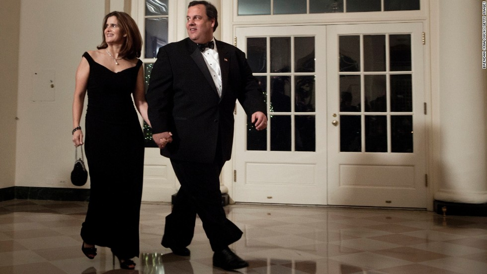 Christie and his wife, Mary Pat Christie, arrive at the White House for a state dinner on January 19, 2011, in Washington.