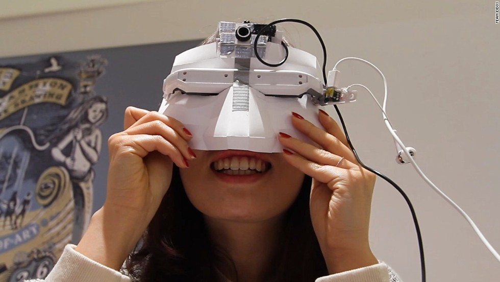 The first working prototype of Eidos Vision. It contains a head mounted display and camera, although it's a far cry from the cool looking final product.