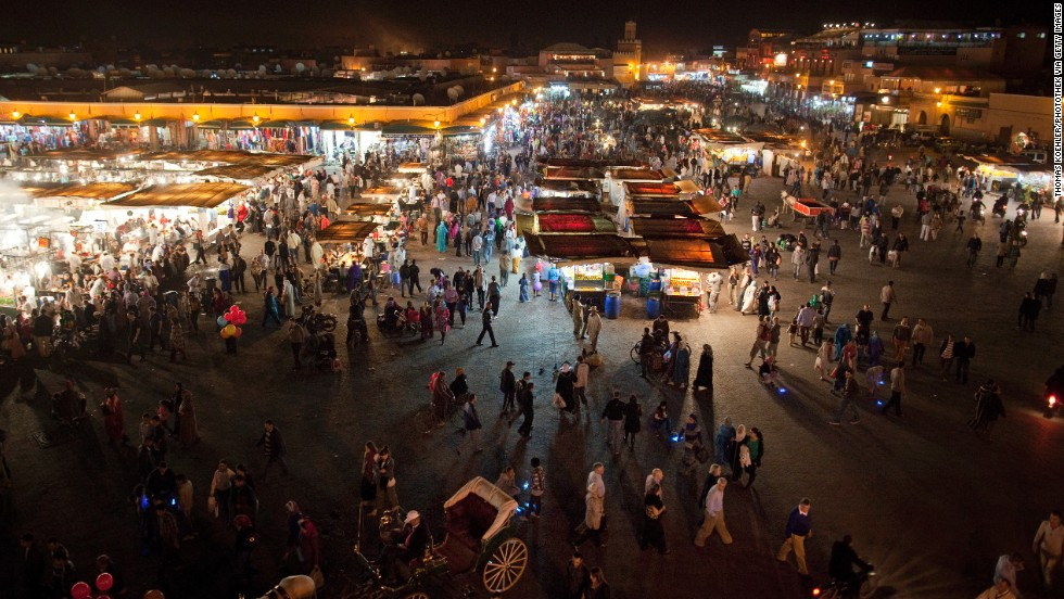 The Djemaa el Fna marketplace is seen at night in Marrakech on October 30, 2011.