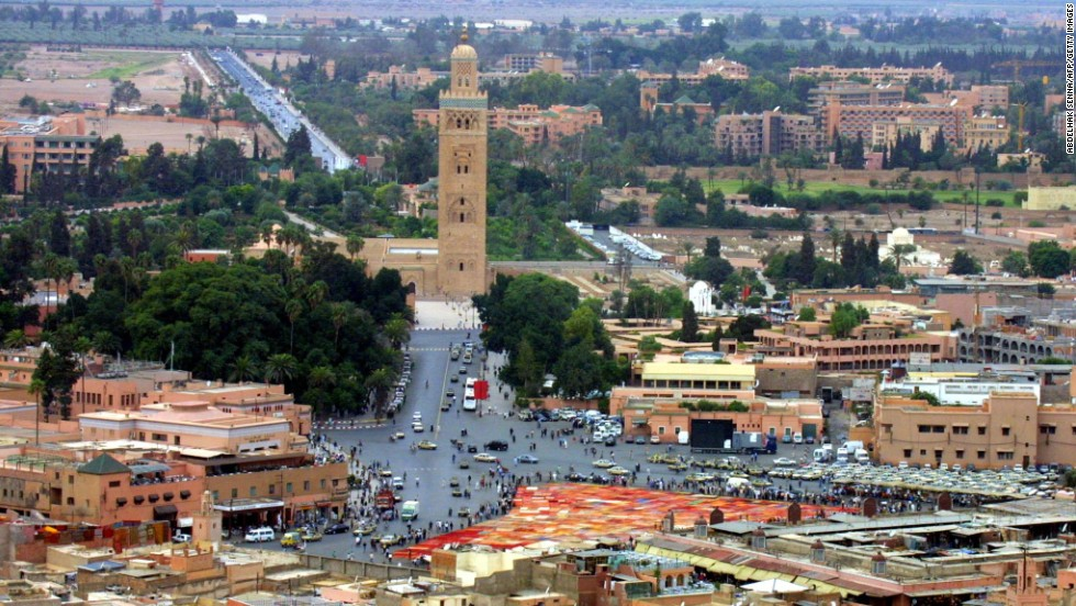 An aerial view over Marrakech shows the Djemaa el Fna marketplace and the Koutoubia mosque on September 29, 2001.