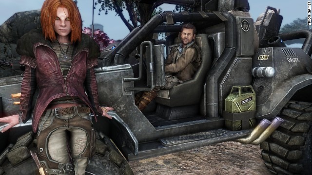 "The characters Irisa, left, and Joshua Nolan appear both in the ""Defiance"" video game and on the Syfy show of the same name."