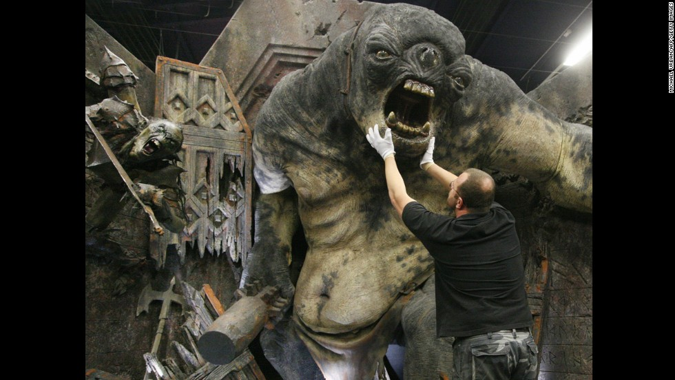 "A model of a cave troll from Peter Jackson's ""The Lord of the Rings: The Fellowship of the Ring,"" whose movement was reportedly inspired by Harryhausen's animation, is on display at an exhibition in Potsdam, Germany, on January 18, 2007."