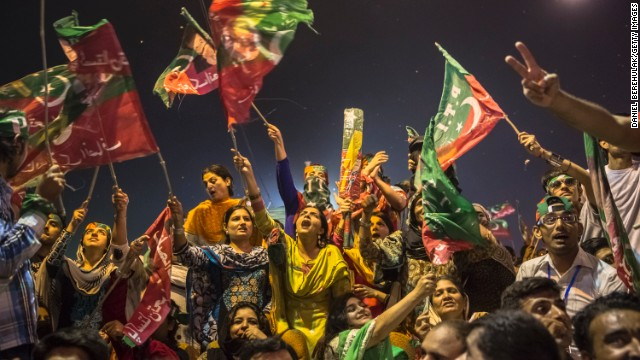 Supporters during an election campaign rally on May 06, 2013 in Multan, Pakistan.
