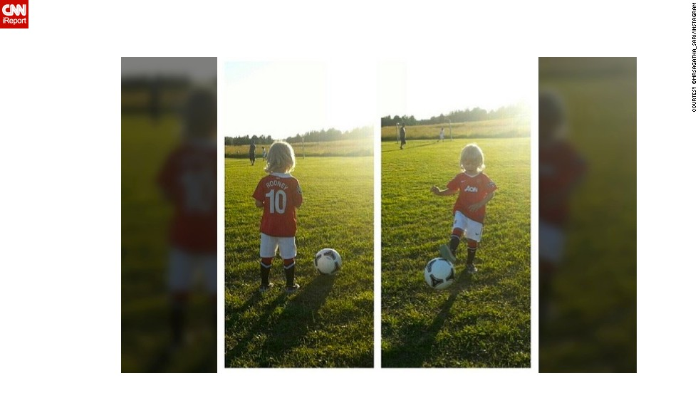 "Instagrammer @mrsagatha_sari's young son Waltteri wears his United  jersey to play football in the southern Finland where they live, in this photo from last summer. She said she was ""very sad"" about Ferguson's retirement, but ""I guess that change might even be good."""