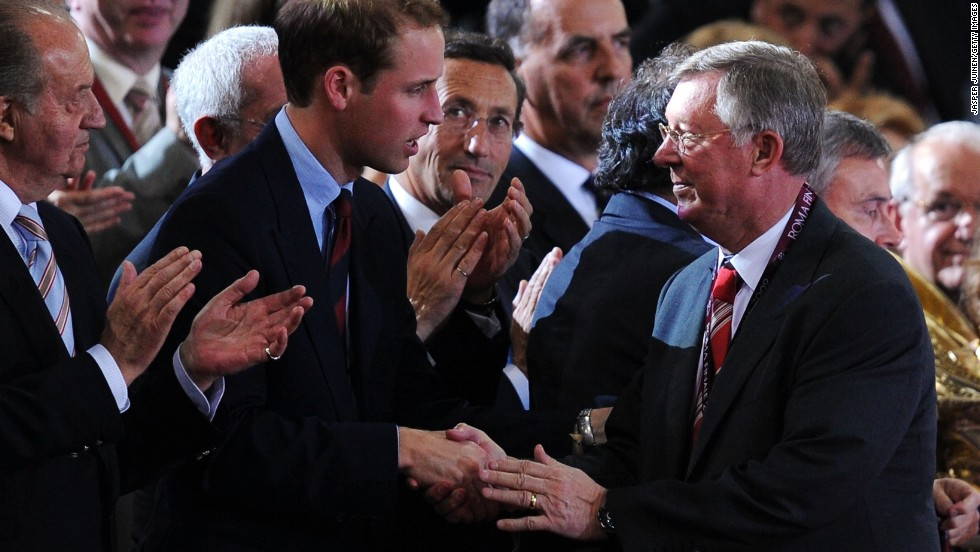 United reached the final again the following season, but lost to Barcelona. Here Ferguson speaks with Britain's Prince William at the Stadio Olimpico in Rome, Italy.