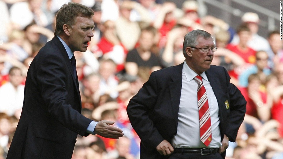 Everton manager David Moyes (left) and Manchester United's soon-to-retire boss Alex Ferguson (right) are pictured during the FA Cup semifinal match between their two teams at Wembley Stadium in April 2009. United announced Wednesday that Ferguson, 71, will be retiring at the end of the season after more than a quarter of a century at the helm.