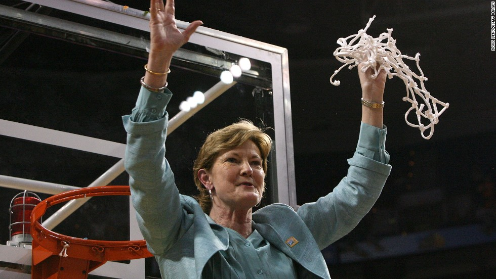 Head coach emeritus Pat Summitt of the Tennessee Lady Volunteers is the all-time winningest coach in NCAA history of either men's or women's teams. She coached for 38 years before stepping down in 2012 to fight early onset dementia.