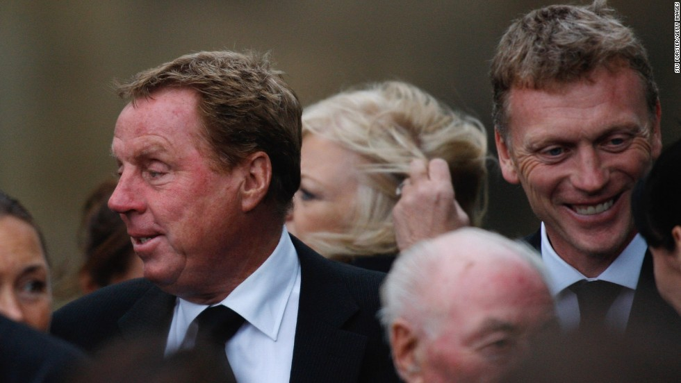 Harry Redknapp -- then Tottenham manager, but now Queens Park Rangers boss -- and Moyes are pictured together after the Sir Bobby Robson Memorial Service at Durham Cathedral in September 2009. Former England manager Robson died aged 76 following a long battle with cancer.