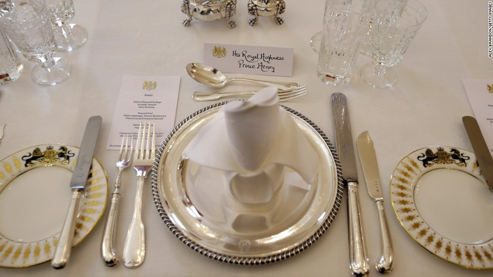 Harry's place settings are laid out for dinner at the British ambassador's residence in Washington.