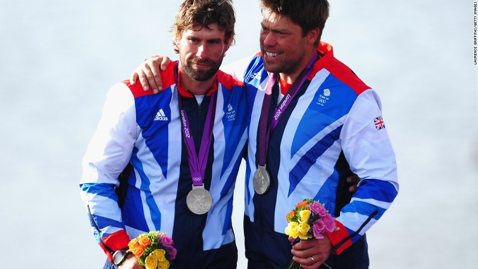 Britain's Iain Percy (left) and Andrew Simpson on the podium at the 2012 London Olympics. Percy is team director of Sweden's entry Artemis Racing. Simpson, his great friend and sailing partner, was tragically killed during training for last year's event.