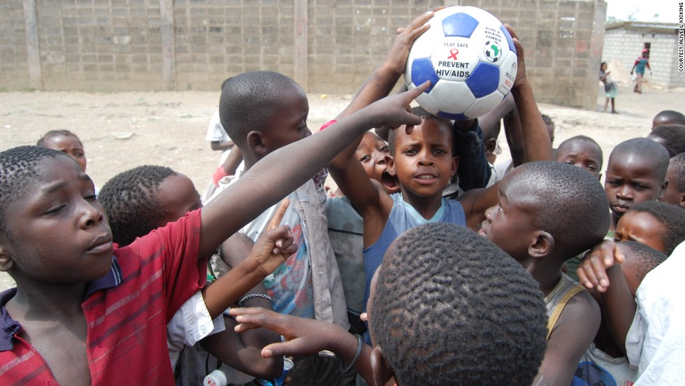 The group donates about a fifth of its balls to schools and children projects to raise health awareness. Each donated ball is printed with simple health messages aimed at informing young people about the dangers of HIV/AIDS and malaria.