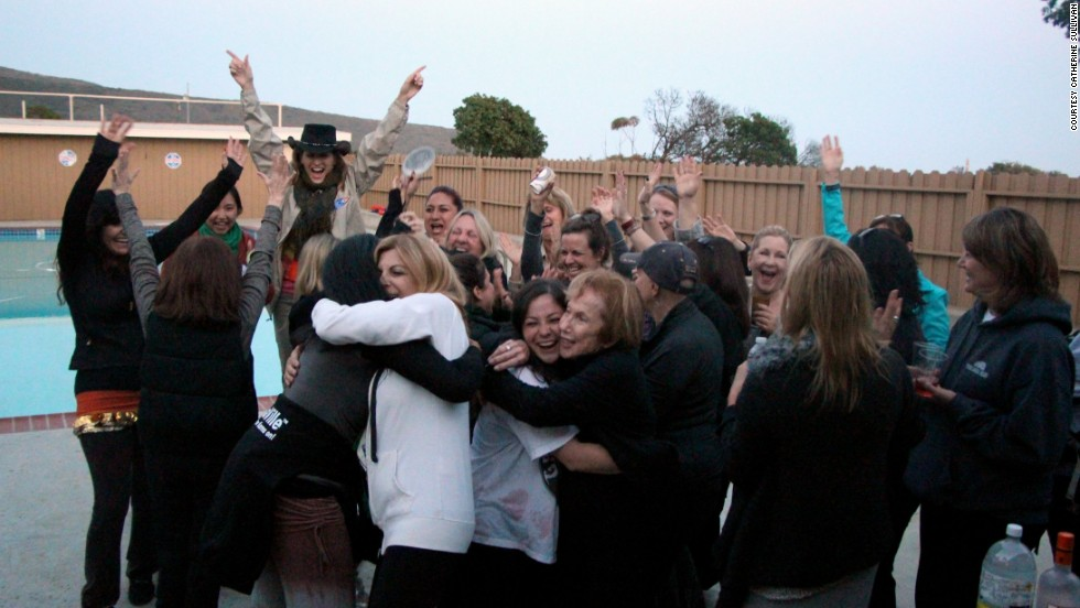 The victorious team celebrates at the happy hour sing-off.