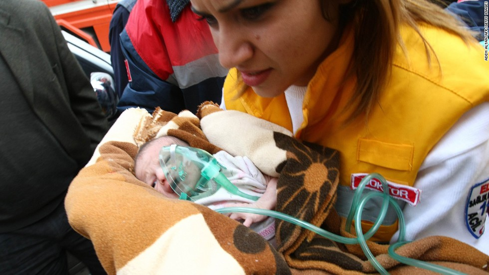 "A baby, her mother and her grandmother are rescued in eastern Turkey on October 25, 2011, two days after a 7.2-magnitude earthquake killed more than 600 people. Dramatic video showed 2-week-old <a href=""http://www.cnn.com/2011/10/25/world/europe/turkey-quake/index.html"">Arza Karaduman</a> being carried from the debris of a multiple-story building."